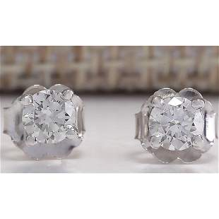 0.42CTW Natural Diamond Earrings 18K Solid White Gold