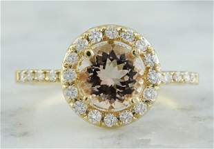 1.60 CTW Morganite 18K Yellow Gold Diamond Ring