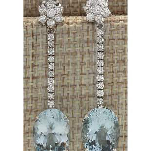 11.69 CTW Natural Aquamarine And Diamond Earrings 18K