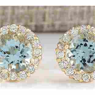 3.65 CTW Natural Aquamarine And Diamond Earrings 18K