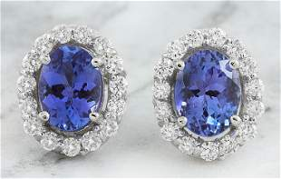3.07 CTW Tanzanite 14K White Gold Diamond Earrings