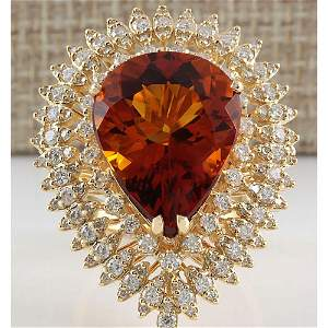 17.40 CTW Natural Madeira Citrine And Diamond Ring 18K