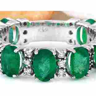 4.60 CTW Natural Emerald 14K Solid White Gold Diamond