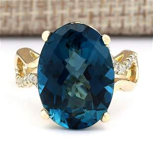 15.37 CTW Natural Topaz And Diamond Ring In 18K Yellow