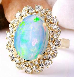 7.68 CTW Natural Opal 18K Solid Yellow Gold Diamond