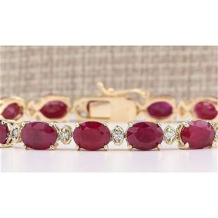 28.58 CTW Natural Red Ruby And Diamond Bracelet In 14k
