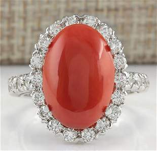 7.35 CTW Natural Red Coral And Diamond Ring 18K Solid