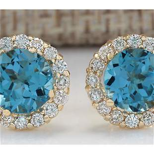 3.65 CTW Natural Blue Topaz And Diamond Earrings 18K