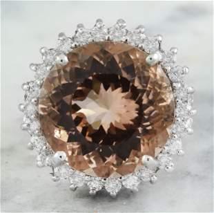13.10 CTW Morganite 14K White Gold Diamond Ring