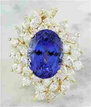 10.75 CTW Tanzanite 14K Yellow Gold Diamond ring