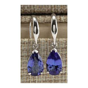 3.88 CTW Natural Tanzanite Earrings In 14K Solid White