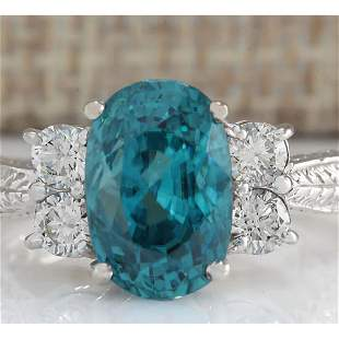 7.07 CTW Natural Blue Zircon And Diamond Ring 18K Solid