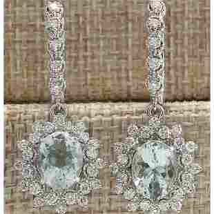 6.40 CTW Natural Aquamarine And Diamond Earrings 18K