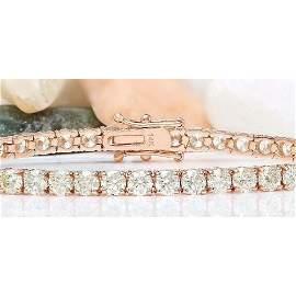 5.40 CTW Natural Diamond 18K Solid Rose Gold Bracelet