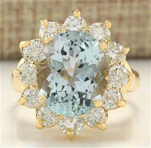 7.60 CTW Natural Aquamarine And Diamond Ring In 18K