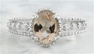 1.29 CTW Morganite 14K White gold Diamond Ring