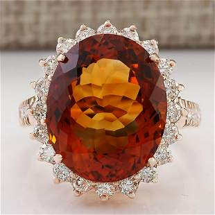 13.49 CTW Natural Madeira Citrine And Diamond Ring 14k