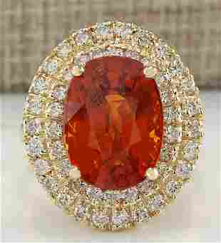 11.64 CTW Natural Mandarin Garnet And Diamond Ring 14K