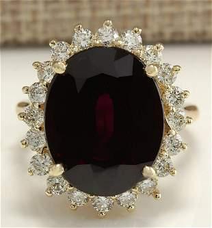 16.07 CTW Natural Hessonite Garnet And Diamond Ring 14K