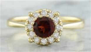 0.72 CTW Garnet 14K Yellow Gold Diamond Ring