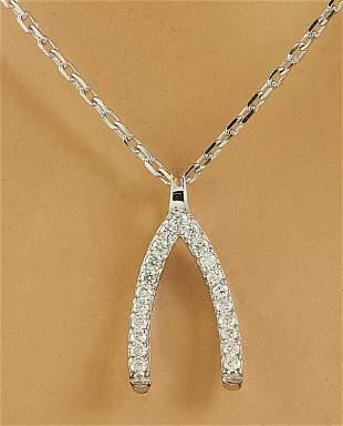 0.11 CTW Diamond 18K White Gold Wishbone Necklace