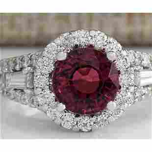4.02 CTW Natural Pink Tourmaline And Diamond Ring 18K