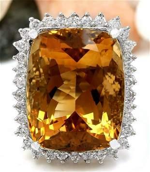 31.08 CTW Natural Citrine 14K Solid White Gold Diamond