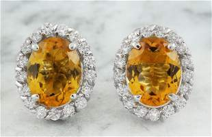 3.90 CTW Citrine 14K White Gold Diamond Earrings