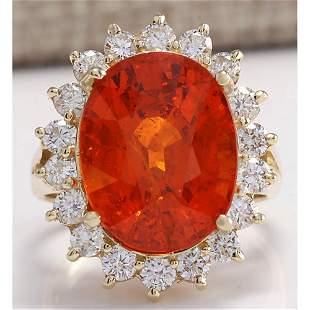 12.41 CTW Natural Mandarin Garnet And Diamond Ring 14K
