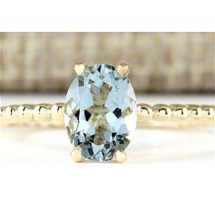 1.07 CTW Natural Aquamarine Ring In 18K Yellow Gold