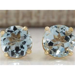 2.24 CTW Natural Blue Aquamarine Earrings In 18K Yellow