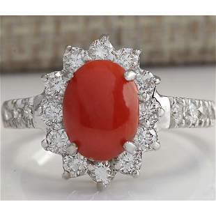 2.35 CTW Natural Red Coral And Diamond Ring 18K Solid