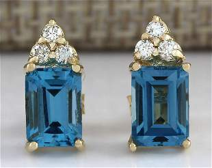 2.65 CTW Natural Topaz And Diamond Earrings 18K Solid