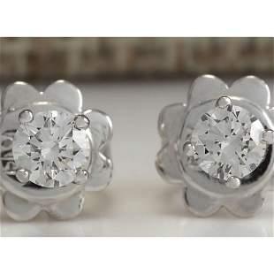 0.30CTW Natural Diamond Earrings 18K Solid White Gold