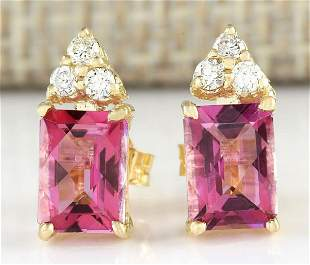 2.65 CTW Natural Pink Tourmaline And Diamond Earrings