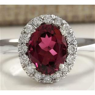 2.35 CTW Natural Pink Tourmaline And Diamond Ring 18K
