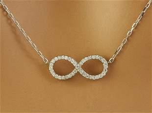 0.30 CTW Diamond 18K White Gold Infinty Necklace