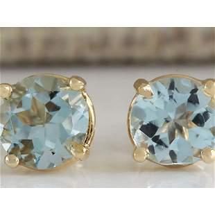 1.06 CTW Natural Blue Aquamarine Earrings In 18K Yellow