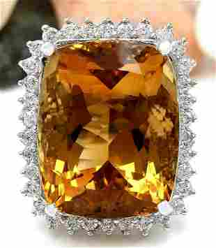 31.08 CTW Natural Citrine 18K Solid White Gold Diamond