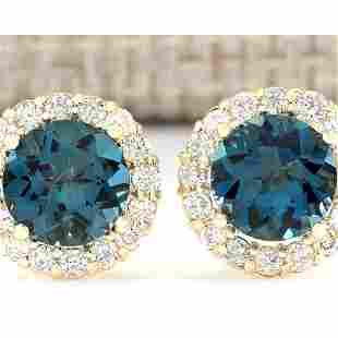 3.65 CTW Natural London Blue Topaz And Diamond Earrings