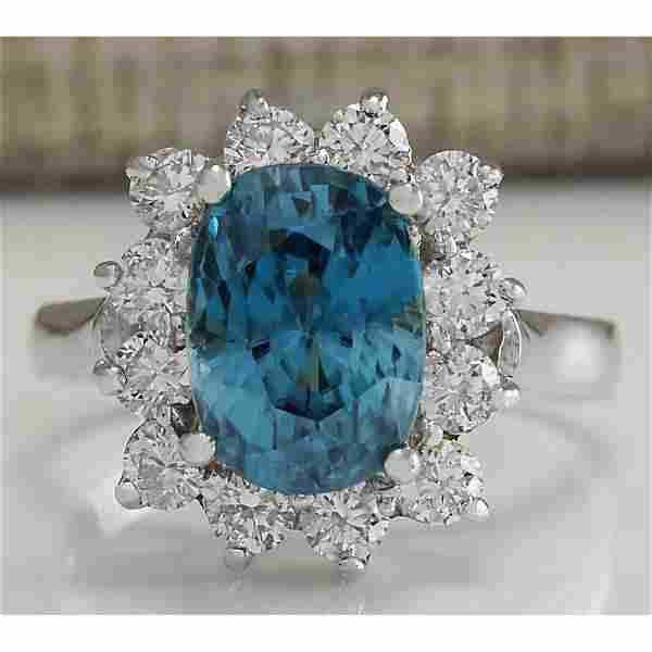 6.07 CTW Natural Blue Zircon And Diamond Ring 18K Solid