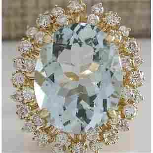 13.65 CTW Natural Aquamarine And Diamond Ring In 14K