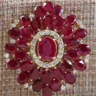 59.00 CTW Natural Ruby And Diamond Necklace In 18K