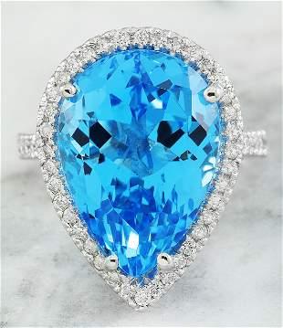 16.65 CTW Topaz 14K White Gold Diamond Ring