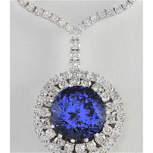 22.09 CTW Natural Tanzanite And Diamond Necklace In 18K