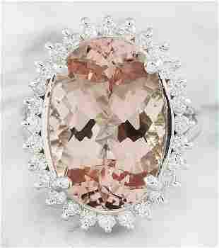 14.20 CTW Morganite 18K White Gold Diamond Ring
