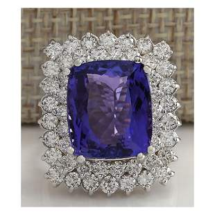 12.40CTW Natural Blue Tanzanite And Diamond Ring 18K