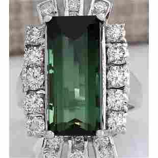 11.67 CTW Natural Green Tourmaline And Diamond Ring 18K