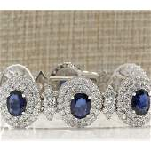 27.75 CTW Natural Sapphire And Diamond Bracelet In 18K