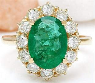 4.40 CTW Natural Emerald 18K Solid Yellow Gold Diamond